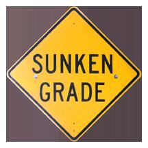 sunken grade sign