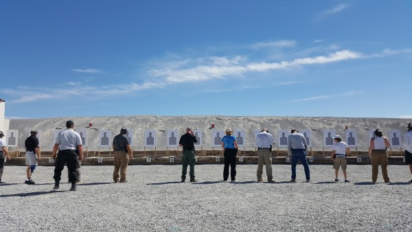 Handgun training course, FrontSight. Marie in the blue shirt.