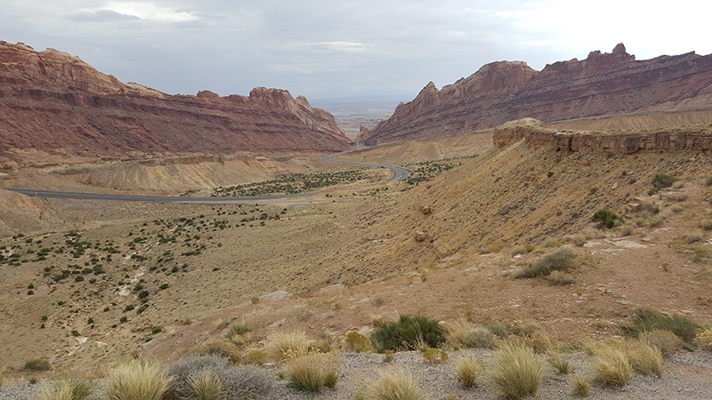 Part of Capital Reef National Park, from a view point on I-70, Utah